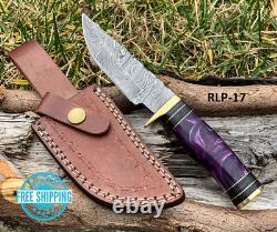 Custom HAND FORGED DAMASCUS STEEL HUNTING Knife BULK Resin & Brass Guard Handle