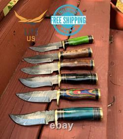 Custom HAND FORGED DAMASCUS STEEL HUNTING Resin & Wood Handle Brass Guard BULK