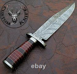Custom Hand Made Damascus Steel Bowie Knife /real Micarta Handle