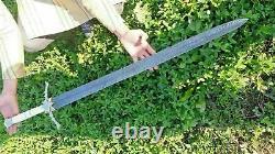 Custom Hand Made Damascus steel Beautiful Brass Star handle sword 34inch