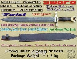 Custom HandMade TopSteel Damascus Steel 29 Sword Rose Wood Handle Brass Tattoos