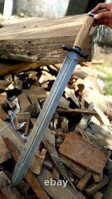 Custom Handmade Damascus Steel 24 Sword With Olive Wood Handle and Brass Spacer