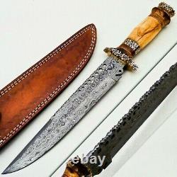 Custom Handmade Damascus Steel Bowie Knife Olive Wood & Brass handle