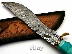 Custom Handmade Damascus Steel Hunting Knife With Turquoise Stone & Brass Handle