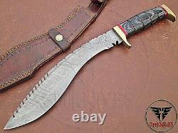 Custom Handmade Damascus Steel Hunting Kukri Knife With Dollar Sheet Handle