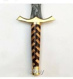 Custom Handmade Damascus Steel Sword & Beautiful Wooden Handle With Brass Guard