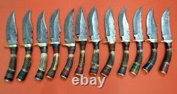 Custom Handmade Damascus steel Stag Handle Knives Lot of 10 with sheaths
