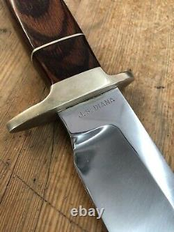 Custom J S Diana Fixed Blade Buck Knife With Wooden Handle And Brass Details