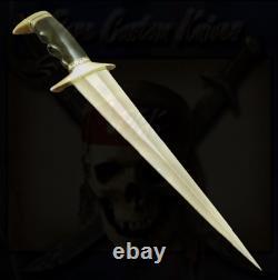 Custom Made D2 Tool Steel Bowie Hunting Dagger Brass Guard Bull Horn Handle