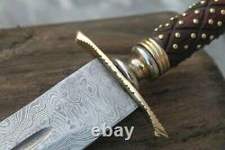 Custom Made Damascus Sword Hunting Knife With Wooden Handle Brass pins AS-74