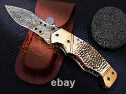 Custom handmade Damascus steel folding knife turtle shell handle brass