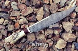DAMASCUS STEEL HANDMADE HUNTING CUSTOM Brass guard stag antler handle come