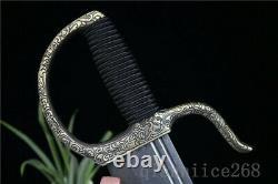Damascus Folded Steel Blade Copper Has Flower Handle Chinese Hudi Sword