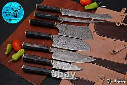 Damascus Steel Chef Kitchen Knife Set With Wood & Brass Bolster Handle Aj 1585