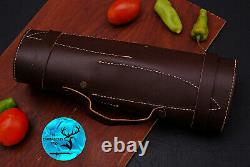 Damascus Steel Chef Kitchen Knife Set With Wood & Brass Bolster Handle Aj 1687