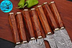 Damascus Steel Chef Kitchen Knife Set With Wood & Brass Bolster Handle M 133
