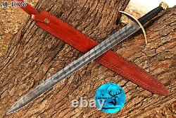Damascus Steel Double Edge Sword With Leather & Brass Guard Handle Aj 1706