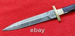 Damascus Steel Double Edged Dagger Knife Rosewood Handle And Brass Guards