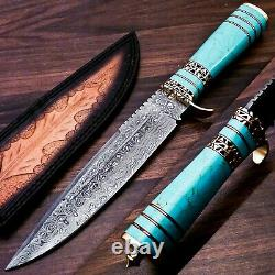 Damascus Steel Hunting Bowie Knife With Turquoise Gemstone & Brass Handle