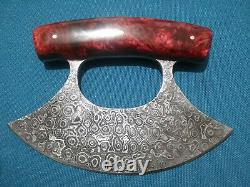 Damascus Steel Ulu Knife, Polished Handle, With Wood Stand. Red with Brass Pins