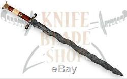Damascus steel KRIS blade Sword, Handmade SWORD ROSE WOOD &BONE HANDLE