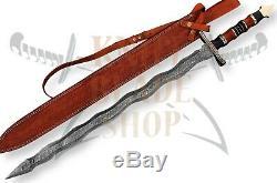 Damascus steel KRIS blade Sword, Handmade SWORD ROSE WOOD &MICARTA HANDLE