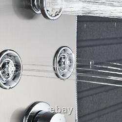 ELLO&ALLO Silver Shower Panel System Tower LED Rain Waterfall Stainless Steel