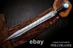 FXG-80 Damascus Steel Custom Handmade Stabilized Pinecone Handle Dagger SWORD