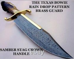 Fancy Handmade Damascus Steel Bowie Knife Handle Brass Clip And Stag Crown