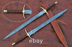 Fully Hand Forged Damascus Steel Sword, rose wood, Brass Gaurd And Pommel Handle