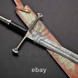 HAND FORGED DAMASCUS CLAYMORE Sword Leather Handle WAZ Knives W BRASS GUARD