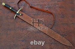 HUNTEX Custom Handmade Damascus 94 cm Long FullTang Rosewood Handle Viking Sword