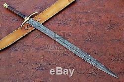 HUNTEX Custom Handmade Damascus 98 cm Long FullTang Rosewood Handle Viking Sword