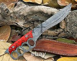 HUNTEX Custom Handmade Damascus Blade, 340 mm Raisin Handle Battle Sticker Knife