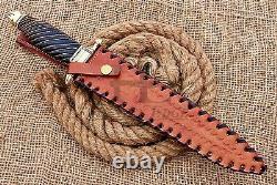 HUNTEX Custom Handmade Damascus Blade, 385 mm Buffalo Horn Handle Exotic Dagger