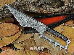 HUNTEX Custom Handmade Damascus Blade, 405 mm, Raisin Handle Battle Tanto Knife