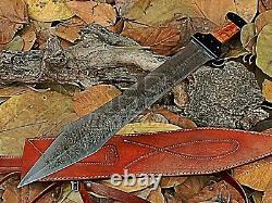HUNTEX Custom Handmade Damascus Blade, Olivewood Handle 585 mm Long Short Sword