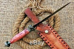 HUNTEX Custom Handmade Damascus Steel 38 cm Long Marble Rock Scale Handle Dagger