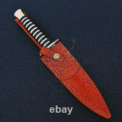 Hand Forged Blade Double Edge Swiss Dagger Knife Brass Spacer Handle