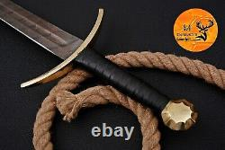 Hand Forged Damascus Steel Sword With Leather & Brass Guard Handle Aj 1706