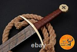 Hand Forged Damascus Steel Sword With Leather & Brass Guard Handle Aj 1707