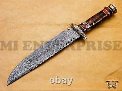 Hand Made Custom Damascus Steel Hunting Knife Pine cone / Resin Brass Handle