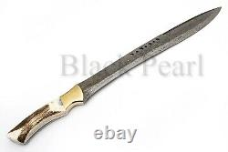 Handmade Damascus Book Of ELI Movie Machete/Sword With Stag Horn Handle BPH# 002