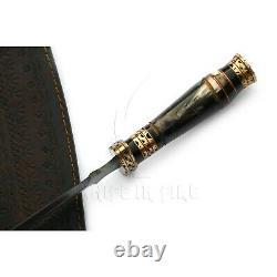 Handmade Damascus Steel Dagger Knife Ram Horn Handle Brass Spacer Filework