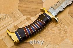 Handmade Damascus Steel Hunting Bowie Knife Wood, Black Horn & Brass Handle