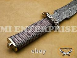 Handmade Damascus Steel Hunting Knife With Copper and Brass Wire Handle KH-52