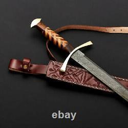 Handmade Damascus Viking Sword Wood Handle Brass Sandwich Guard Sheath