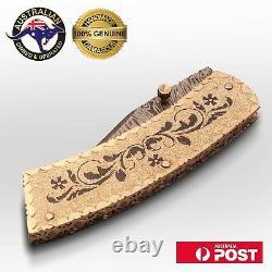 Handmade Folding Knife, Damascus Blade, Engraved Brass Handle, Leather Sheath X9