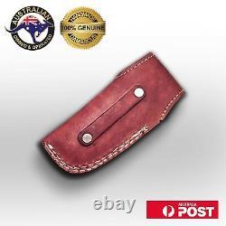 Handmade Folding Knife, Damascus Blade, Engraved Brass Handle, Leather Sheath Z9