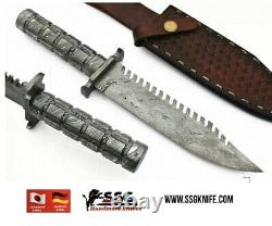 Handmade Hunter Bowie Knife, Damascus Forged Blade, & Handle 13.5 Inches
